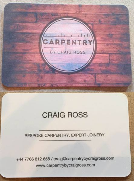 carpentry by craig ross business cards